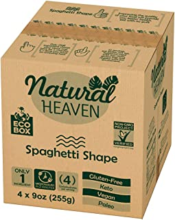 ECOBOX Natural Heaven Pasta Substitute   Spaghetti Hearts of Palm Noodle   4 Count 9 oz   Environmental friendly…