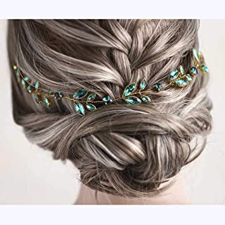 Barode Green Crystal Wedding Hair Vine Gold Bride Headpieces Bridal Headband for Women and Girls