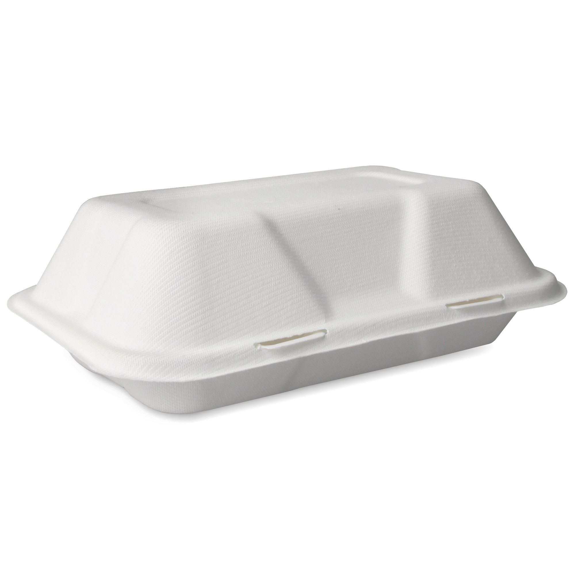 Biodegradable Sugarcane Clamshell Takeaway Box 9 x 6 Inch - Pack of 50 - Eco-friendly Packaging