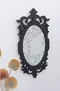 Artisanal Creations Black Victorian Wall Mirror with Leaves Etching for Living Room, Entryway, Bedroom or Bathroom
