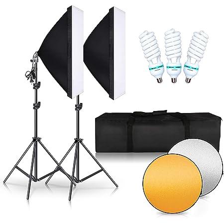 SH 写真撮影ソフトボックス 50×70cm 照明キット 3*150W電球 2*2Mライトスタンド リフレクター キャリングバッグ スタジオ撮影 ビデオ録画用 インタビュー 物撮り