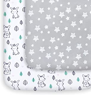 Mini Crib Sheets, 2 Pack Pack and Play Sheets, Stretchy Pack n Play Playard Fitted Sheet, Compatible with Graco Pack n Pla...