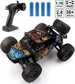 Rc Cars with 2 Batteries, 2.4G 4WD 1:16 Scale Remote Control Off Road Truck, 36km/h High-Speed Crawlers Off-Road Vehicle Toy, RC Monster Hobby Truck Buggy, RC Electric Toy Car for All Adults & (G173)