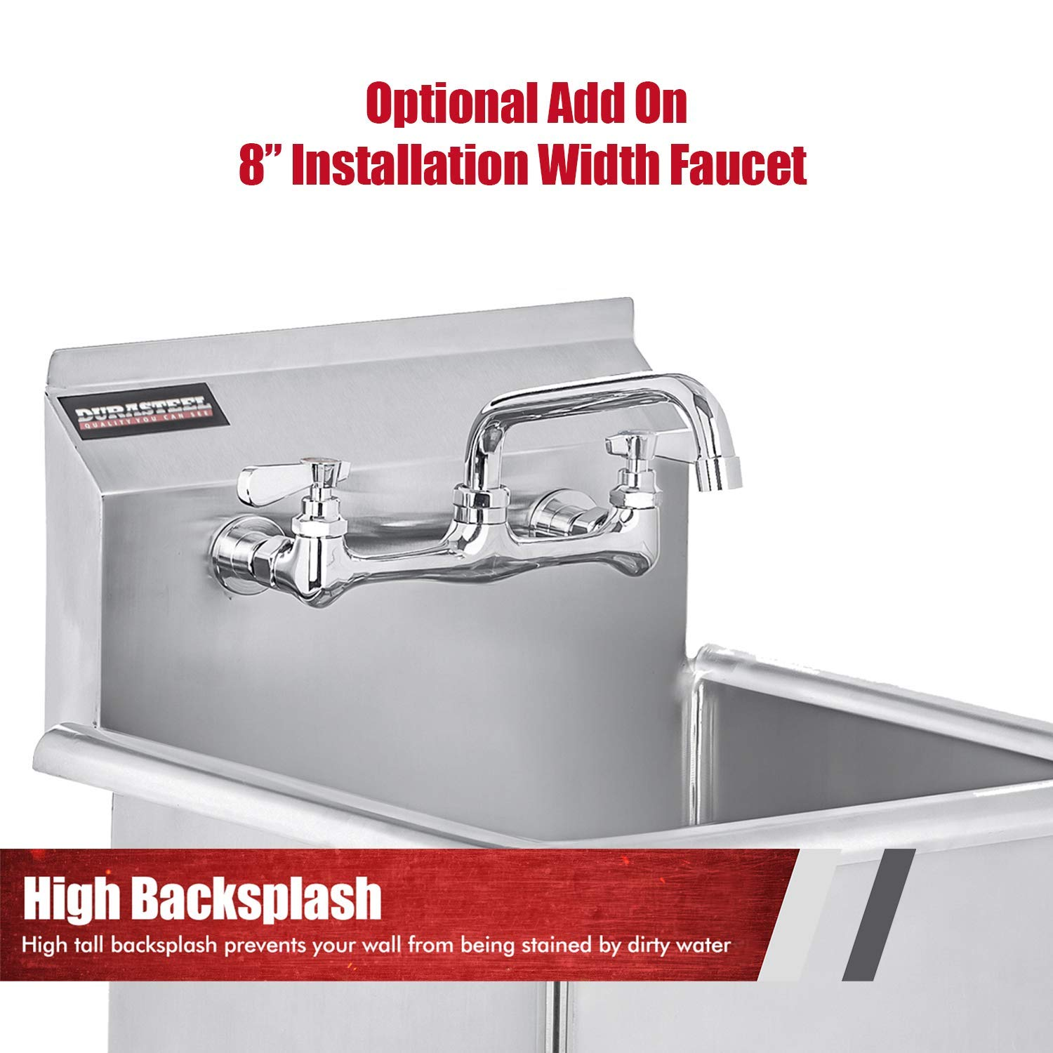 Buy Stainless Steel Prep Utility Sink Durasteel 1 Compartment Commercial Kitchen Sink Nsf Certified Single 24 X 24 Inner Tub With No Lead Faucet Restaurant Kitchen Laundry Garage Online In Turkey B01igao2zo