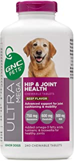 GNC Pets Ultra Mega Hip & Joint Supplements for Dogs | Chewable Tablets, Liquid Supplements, and Mini Bones | Available in Multiple Sizes and Flavors