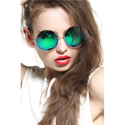 dc18ba3154cce GEELOOK Oversized Round Circle Mirrored Hippie Hipster Sunglasses - Metal  Frame