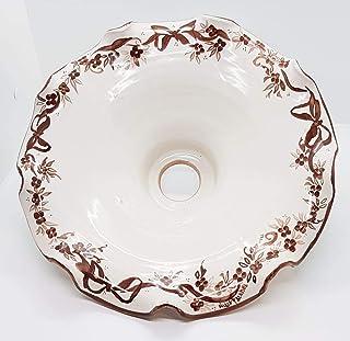 Lampadario diametro 30 centimetri Linea Fiocco Marrone Ceramica Le Ceramiche del Castello Pezzo Unico Handmade Made in Italy