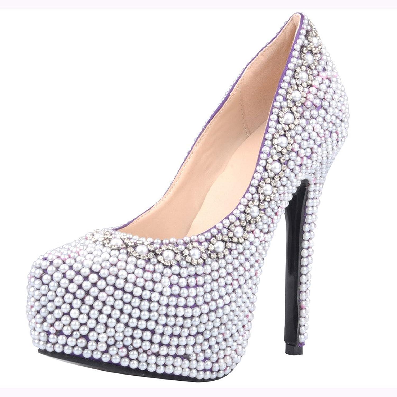 Calaier Womens Caclean Fashion Designer Round Toe 14.5CM Stiletto Slip on Pumps shoes