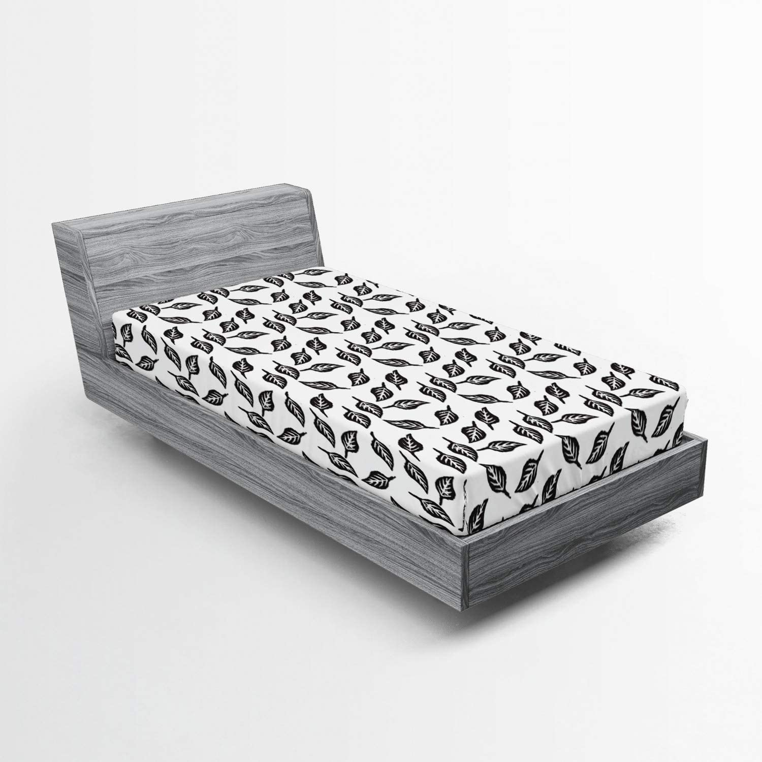 Ambesonne Botanical Fitted Sheet Leaves Autumn Simplistic Monoc Department store Ultra-Cheap Deals