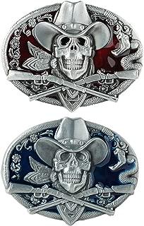 F Fityle 2 Piece Gothic Skeleton Halloween Hip Hop Cowboy Biker Men Belt Buckle