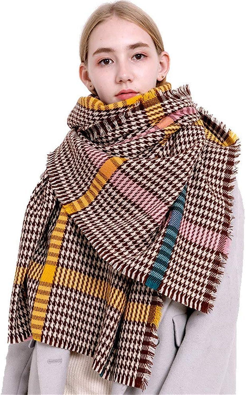 Women's Scarf Elegant Long Soft Scarf Shawl Wrap Winter Warm Tartan Oversized Stoles (color   Yellow)