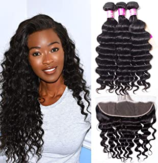 Brazilian Hair Loose Deep Wave Bundles with Frontal Closure 8A Virgin Hair Wet and Wavy Human Hair Extensions Ear to Ear Lace Frontal with Bundles(18 20 22 with 18 Frontal)