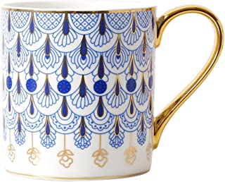 CHOOLD Luxury British Style Blue Floral Fine Bone China Coffee Mug with Golden Handle Spoon,Valentines Gift 14oz