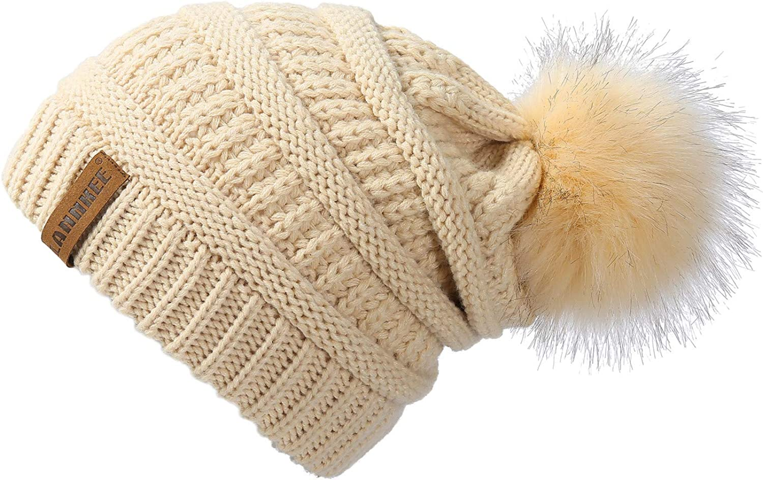 Phoenix Mall LANNKEE Women Knit Beanie Seattle Mall hat with Thick Faux Pom S Fur Hats