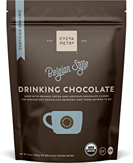 Cocoa Metro Organic Belgian Drinking Chocolate (3-Pack), hot cocoa with chunks of smooth chocolate, European craft cacao r...