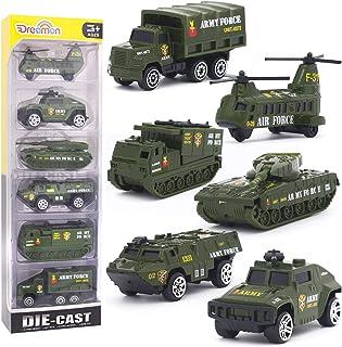 Dreamon Vehículo Militar Mini Modelo Construcción Vehículo de Juguete para Niños 3 4 5 años ,Conjunto de 6