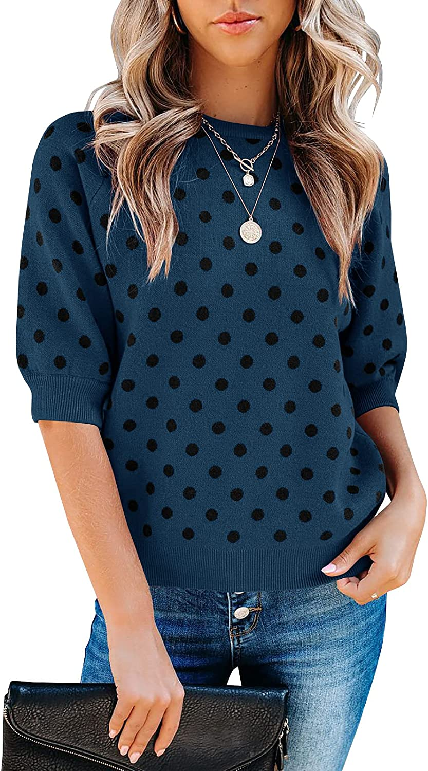 Quality inspection Huiyuzhi Womens Polka Dots Half Sleeve Sweater Pullover Max 48% OFF Lant 3 4