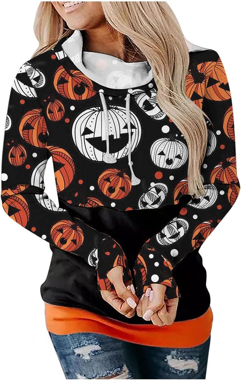 Halloween Hoodies for Women Drawstring Sweatshirt Halloween Graphic Tops Long Sleeve Oversized Blouses Pullover Sweaters