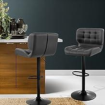 Artiss Set of 2 Swivel Adjustable Leather Bar Stool, Grey