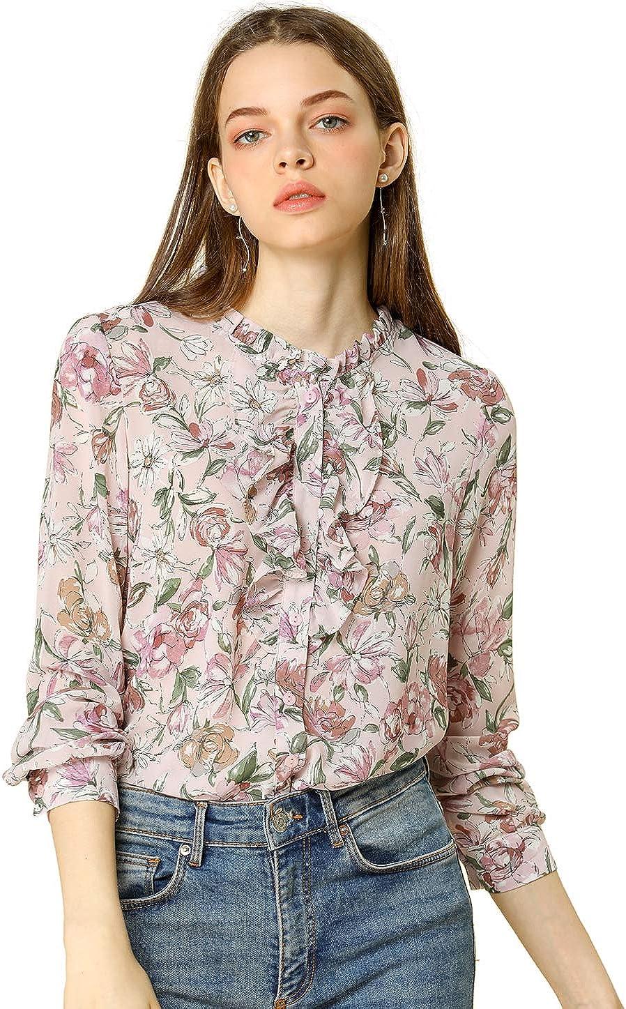 Allegra K Women's Ruffled Chiffon Floral Blouse Retro Long Sleeve Button Down Ruffle Collar Neck Shirt Top
