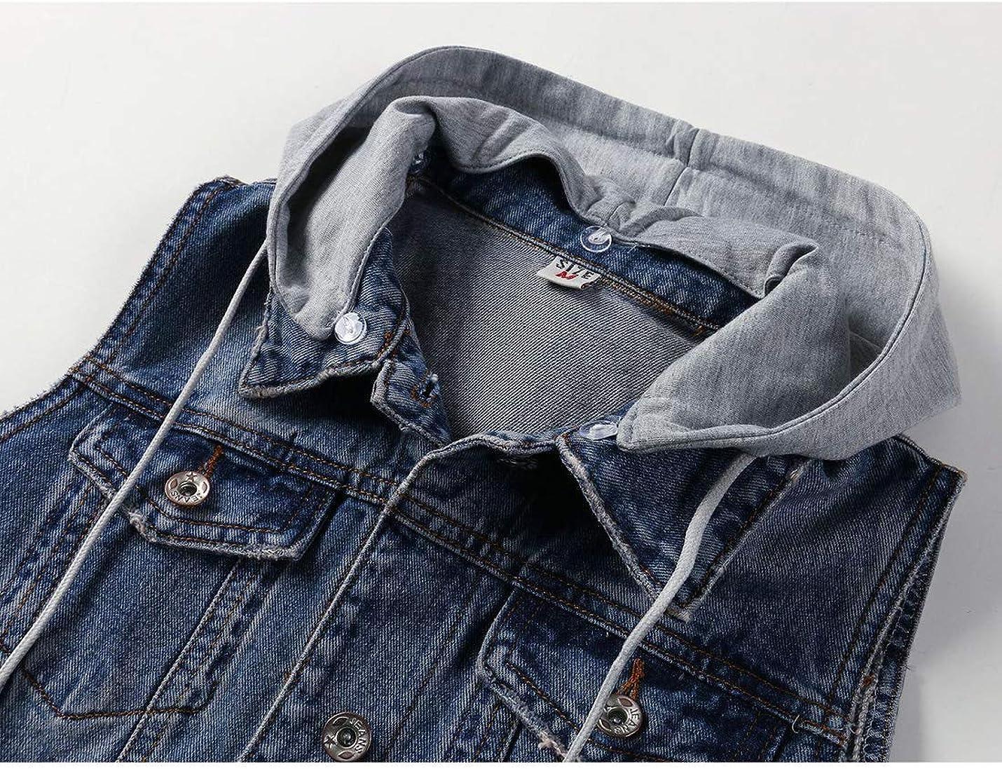 Yimoon Women's Casual Hooded Denim Vest Sleeveless Button Down Jean Jacket