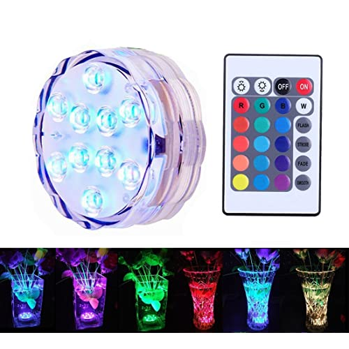 Wishshopping Underwater Decorative Lights, RGB Colorful Waterproof LED Lights Candle Lights 10 LED Remote Controller