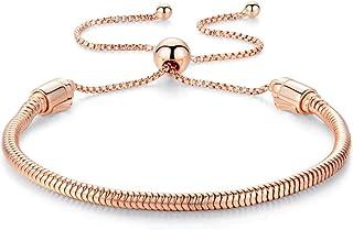 Authentic Bolenvi 925 Silver Adjustable Rose Gold Color Clip On/Off Silver Bracelet fits Pandora Beads Charms