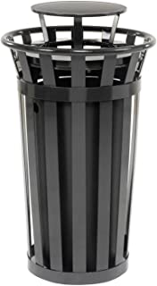 24 Gallon Outdoor Metal Slatted Trash Receptacle with Rain Bonnet Lid, Black