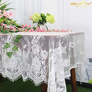 ShinyBeauty Lace Party Tablecloth Rustic Floral Fabric Rectangle Lace Table Cloth Baby Tablecloth Tea Party Tablecloth Fabric Table Cover (1, White-011)