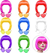 KUUQA 16 Pieces party wigs and sunglass set, neon short bob wig sunglass pack costume colorful cosplay wig daily party hai...
