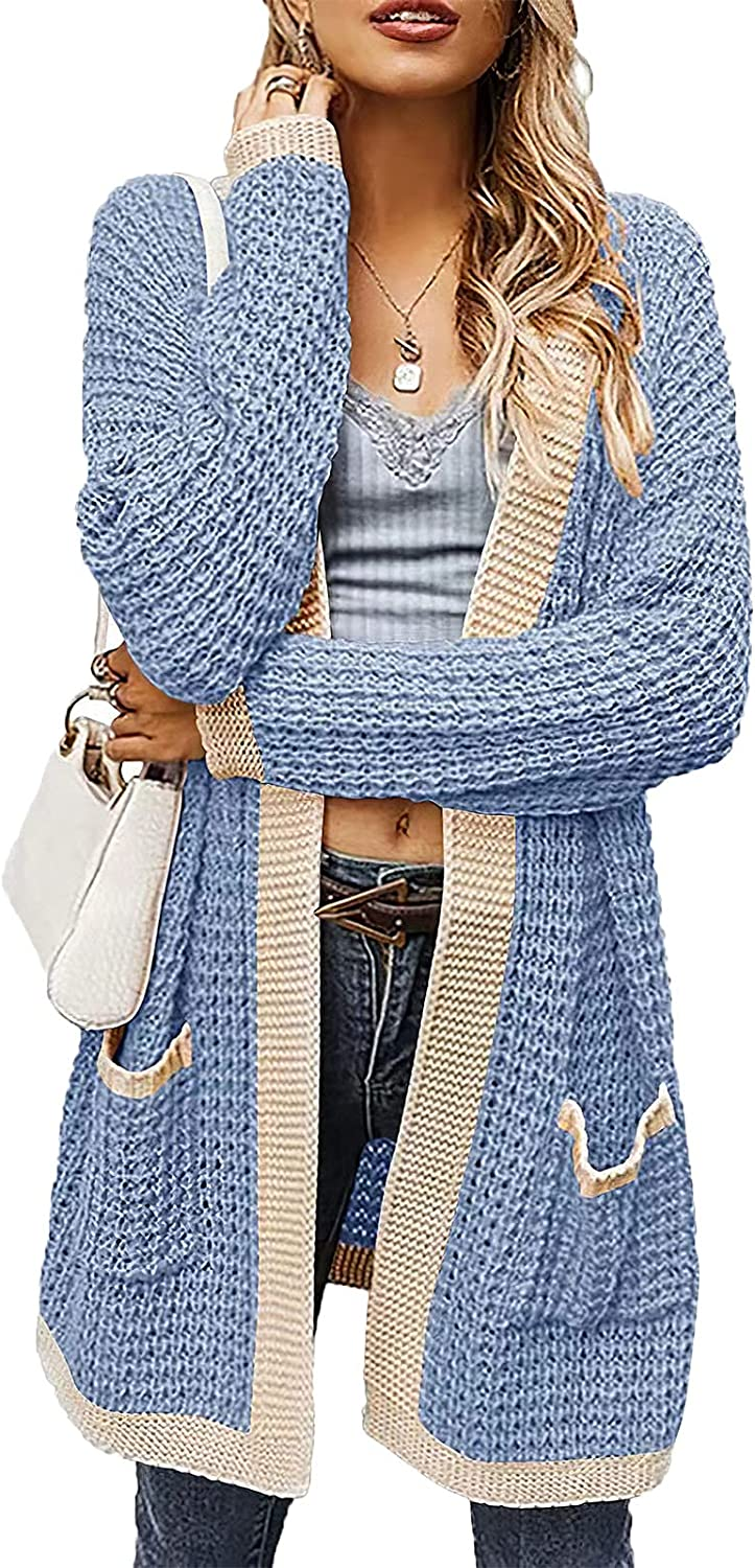 Women's Open Front Chunky Knit Cardigan Sweaters Plus Size Lightweight Long Cardigans for Women Pockets