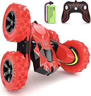 SGILE RC Stunt Car Toy, Remote Control Car with 2 Sided 360 Rotation for Boy Kids Girl, Red