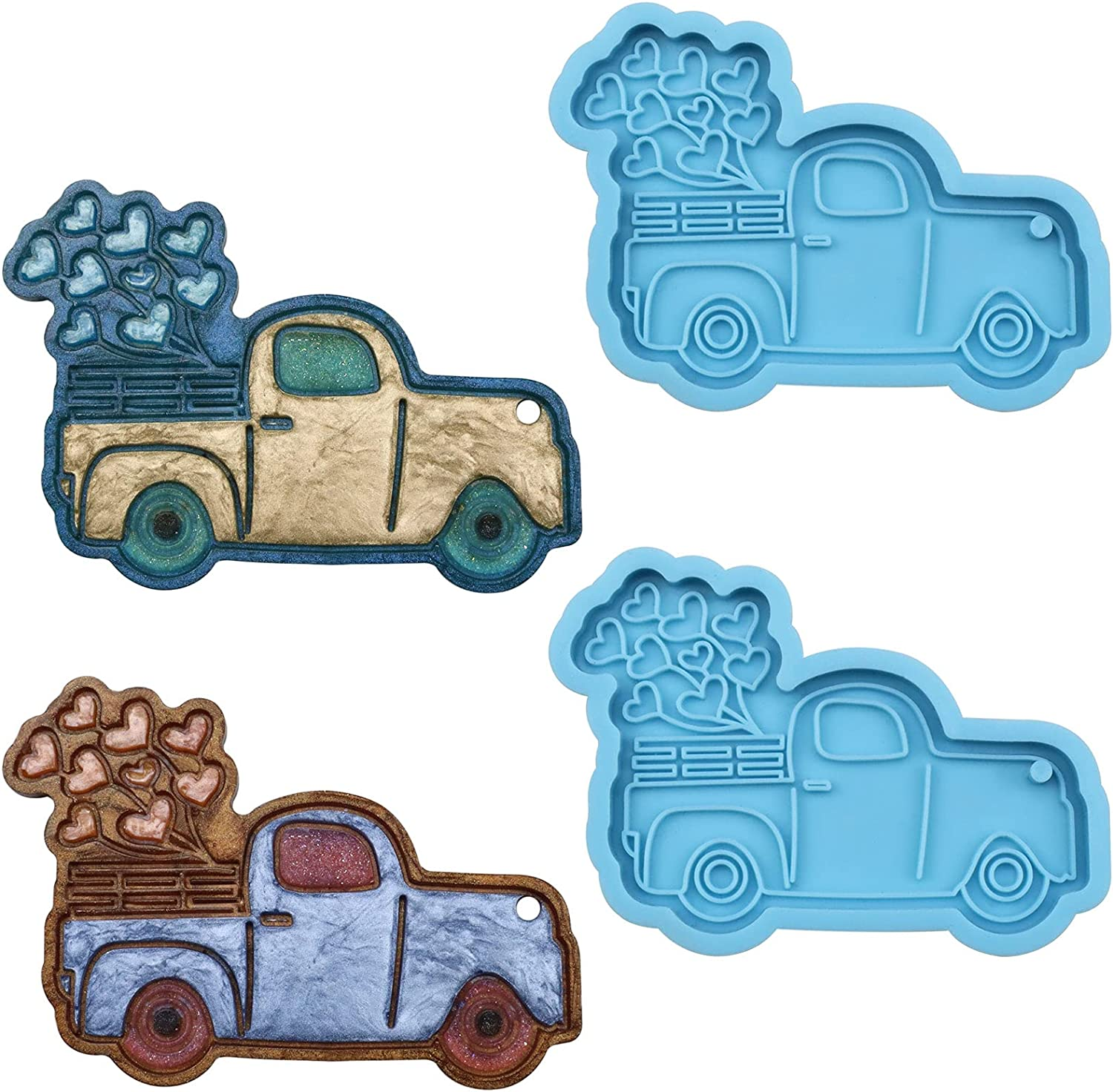 Truck Manufacturer direct delivery Shape Keychain Resin 1 year warranty Mold Love Balloons Pick-up with
