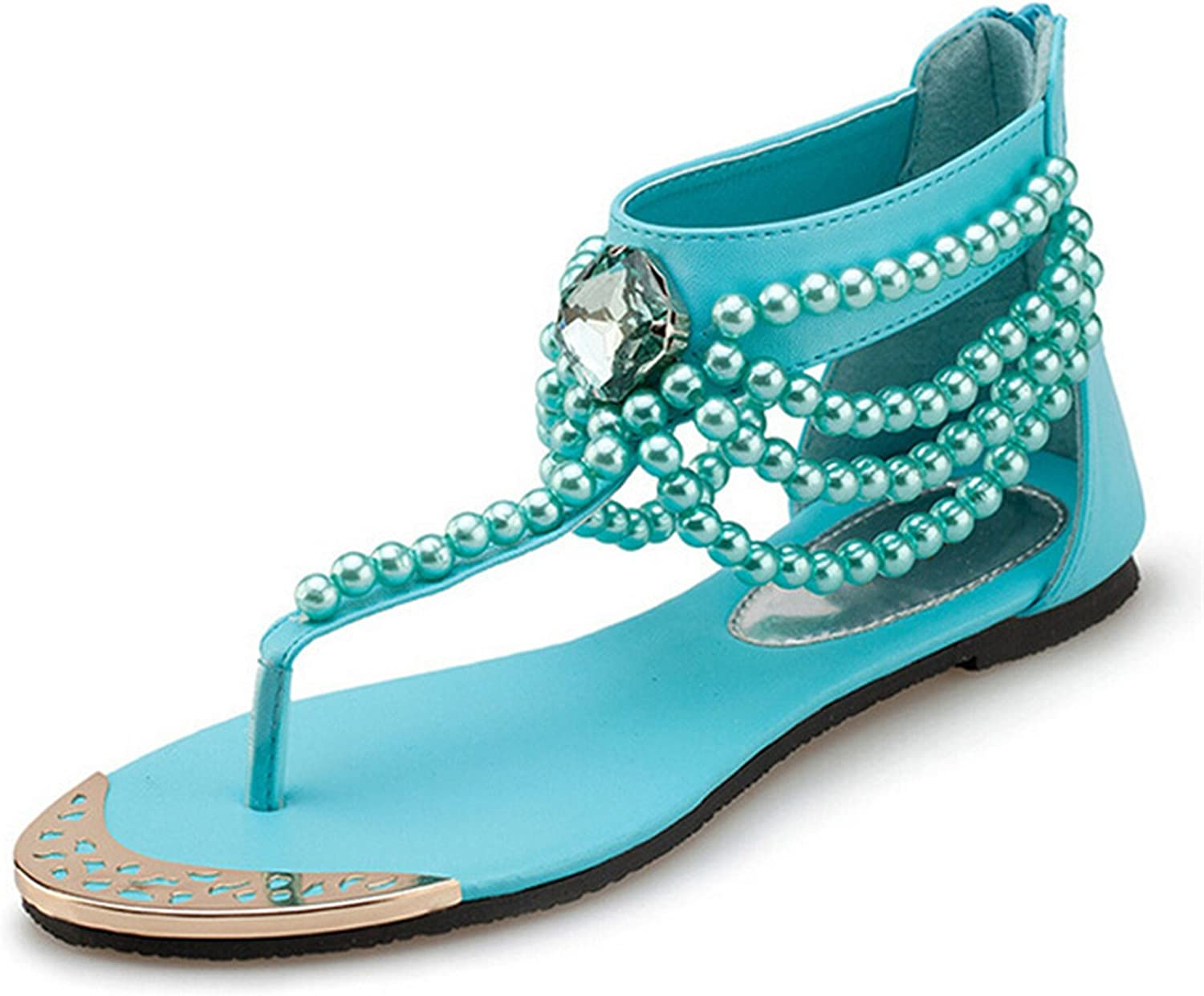 Robert Westbrook Bling Beading Sandals T-Strap Flip Flops Summer Style Flats shoes Woman Rhinestone Pearl Casual Women shoes Xwznew