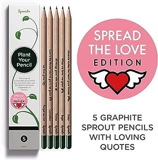 Sprout Lapices Love Edition Box | Pack de 5 | lapices de grafito plantables | de madera ecologica I Un regalo desde el corazón | con mesaje de amor y semillas de flores y hierbas.