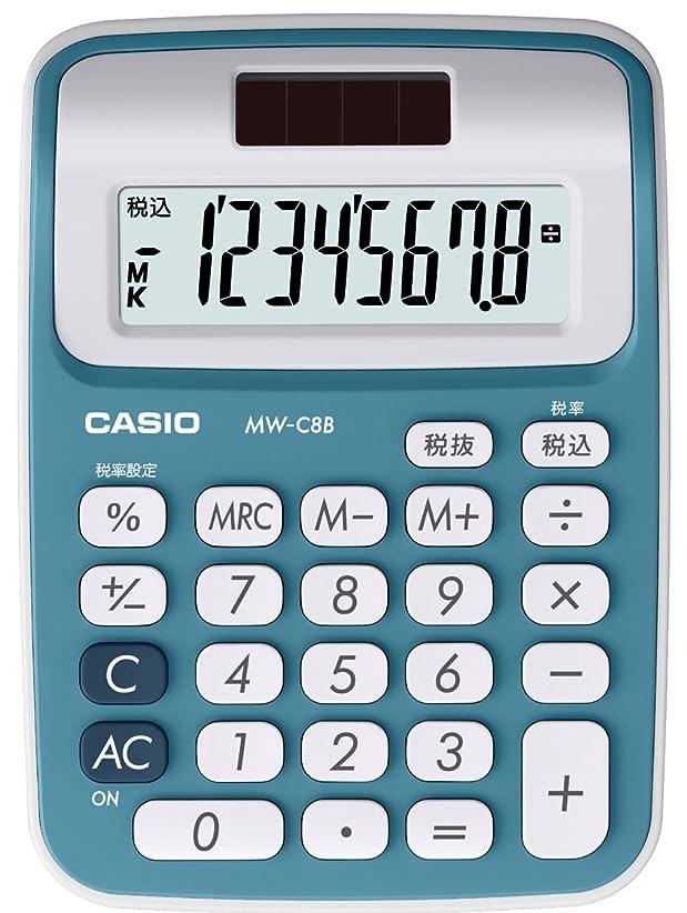 シャーク散逸ウルルカシオ カラフル電卓 ミニジャストタイプ 8桁 MW-C8B-BU-N レイクブルー