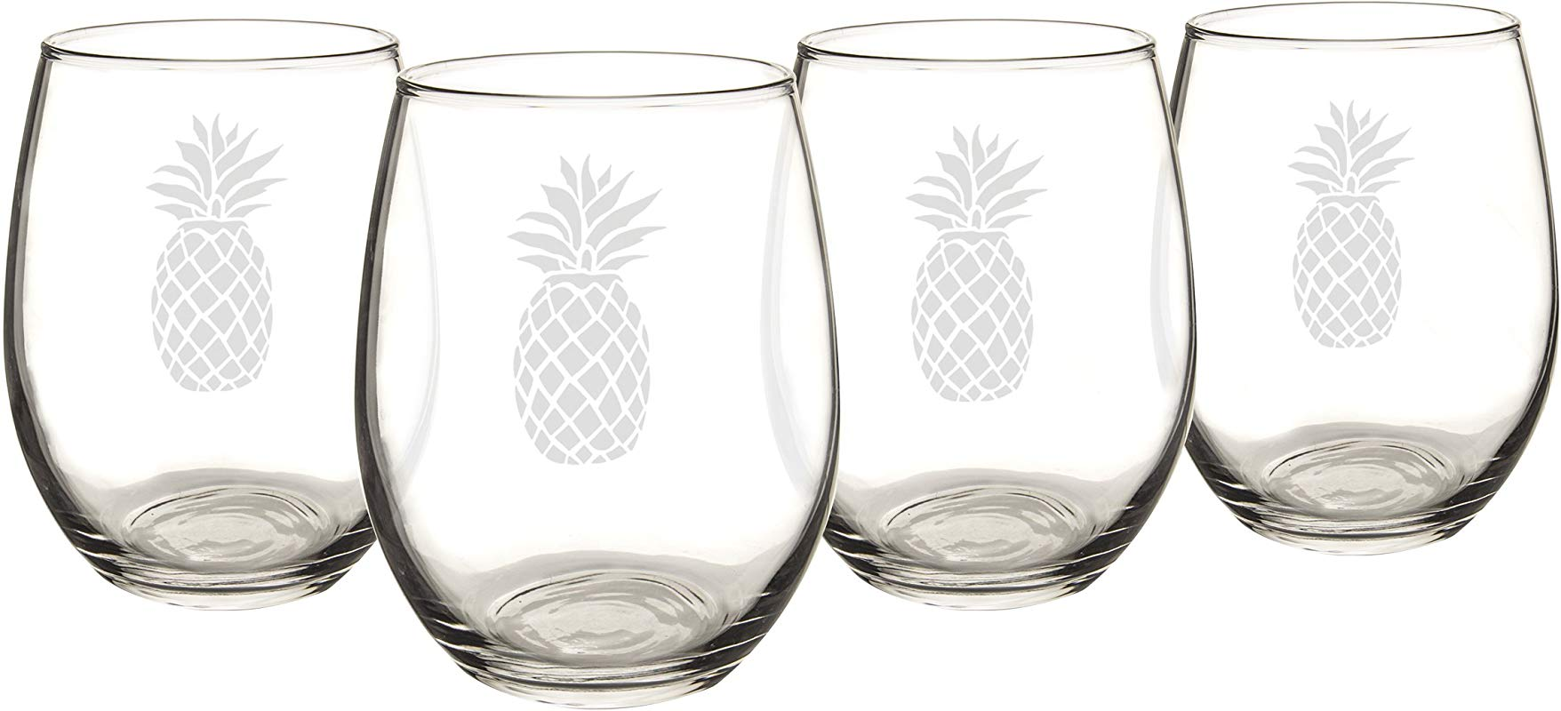 Cathy S Concepts Pineapple Stemless Wine Glasses Set Of 4