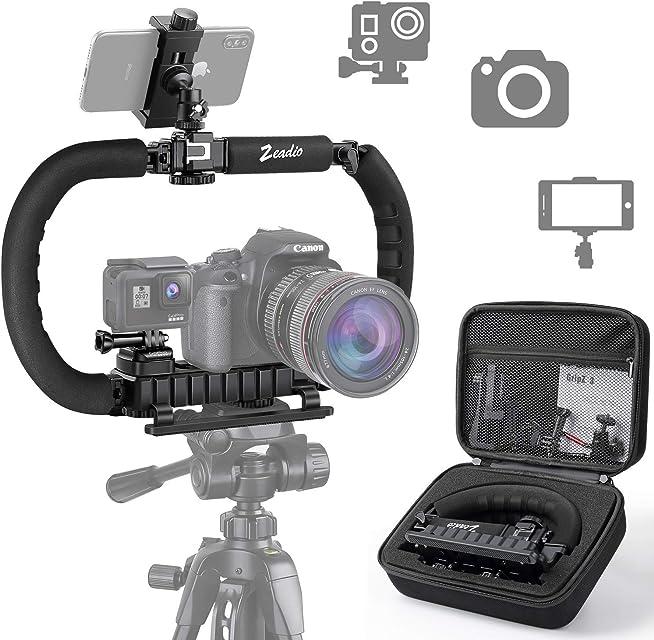 Zeadio Estabilizador para cámara teléfono GoPro Empuñadura plegable Aparejo de video para todos GoPro smartphone cámara videocámara DSLR teléfono inteligente iPhone Huawei Samsung etc