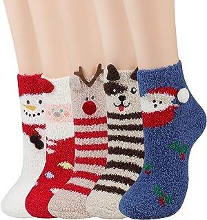 JUSTDOLIFE, JUSTDOLIFE Calcetines de Navidad, Calientes de Piso Lindos de Navidad Calcetines, Suaves y Calcetines Calentitos de Invierno Calcetines Felpa Calcetines para Mujer 5 Pares