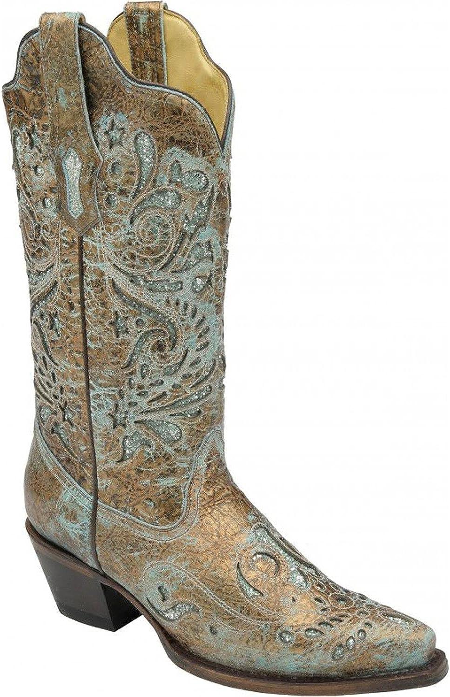 CORRAL Woherrar Turquoise Glitter intarsia Boot R1255 R1255 R1255  världsberömd försäljning online