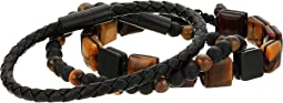 Leather Braided with Tigers Eye and Beaded Trio Bracelet Set