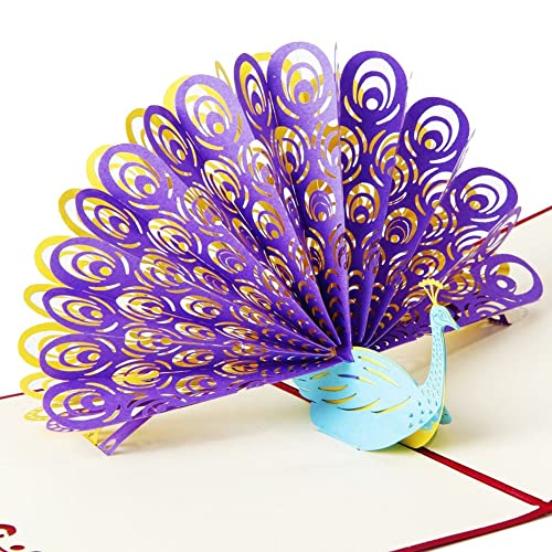 OSUNP Peacock 3D Pop Up Greeting Card Handmade Birthday Wedding Invitation Gift Cards For