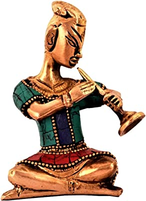 Purpledip Brass Statue Set: Folk Musician Figurines with Gemstones; Comtemporary Decor Gift Souvenir (11192)