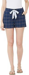 Mystere Paris Classic Checks Lounge Shorts Casual Wear Loungewear Navy Blue Cotton Shorts F482H