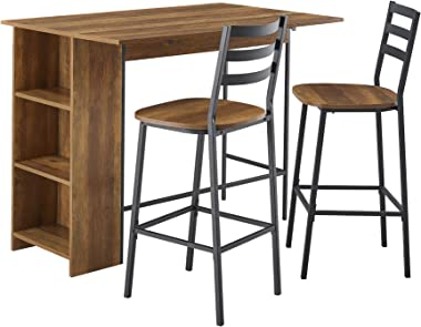"Walker Edison Furniture Company 3 Piece Drop Leaf Counter Table Dining Set with Storage, 48"", Reclaimed Barnwood"