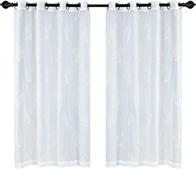 Deco Window 2 Piece Paisely Sheer Eyelet Polyester Window Curtain - 5ft (60 inch), Ivory