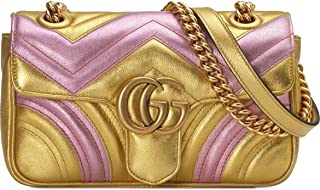 Gucci Mini Marmont 2.0 Metallic Leather Shoulder Bag Handbag Metallic Pink Gold New