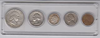 1950 Birth Year Coin Set (5) Coins Silver Half Dollar, Silver Quarter, Silver dime, Nickel and Cent all dated 1950 and Encased in a Plastic Display Holder VG- F