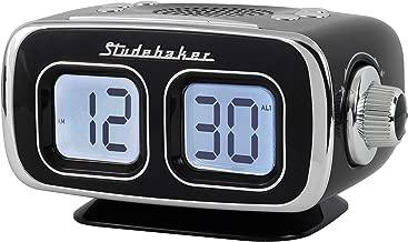 Large Display LCD AM/FM Retro Clock Radio USB Bluetooth Aux-in Bedroom Kitchen Counter Small Footprint SB3500 (Black)