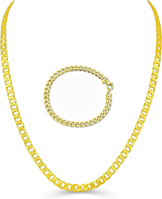 FREE BRACELET LifeTime NECKLACE 8mm Gold Cuban Chain necklace for men women
